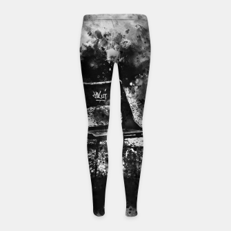 Thumbnail image of gxp chair at lost place splatter watercolor black white Girl's leggings, Live Heroes