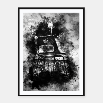Thumbnail image of gxp chair at lost place splatter watercolor black white Framed poster, Live Heroes