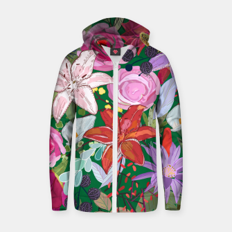 Thumbnail image of Lily and colorful pretty flowers  Zip up hoodie, Live Heroes