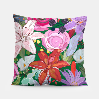 Thumbnail image of Lily and colorful pretty flowers  Pillow, Live Heroes