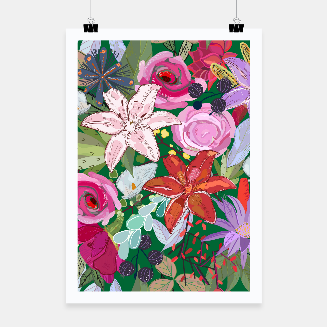 Image of Lily and colorful pretty flowers  Poster - Live Heroes