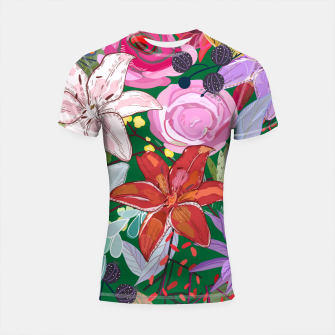 Thumbnail image of Lily and colorful pretty flowers  Shortsleeve rashguard, Live Heroes