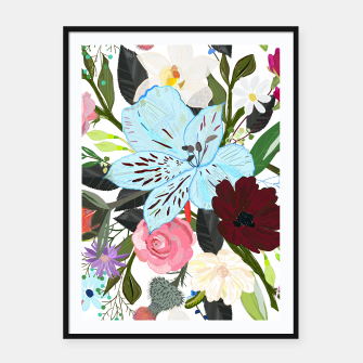Thumbnail image of Alstromerias, fucisia, roses, vanilla, cosmos flower. Floral bouquet Framed poster, Live Heroes