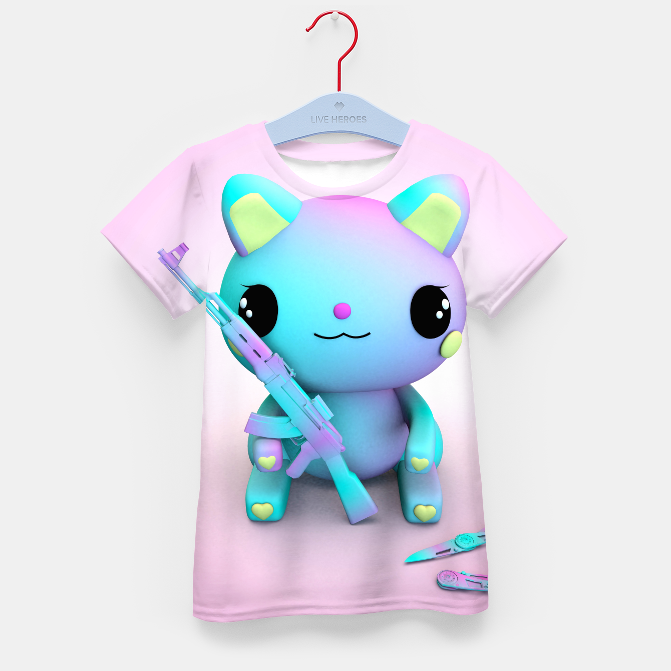 Image of Pastel Kitty Kid's t-shirt - Live Heroes