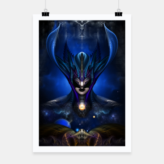 Thumbnail image of Taidushan Sai Shadow Blue RB Fractal Portrait Poster, Live Heroes