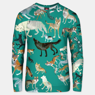 Imagen en miniatura de Wolves of the World (Green pattern) Sudadera unisex, Live Heroes