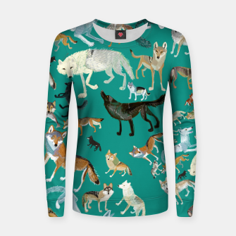 Thumbnail image of Wolves of the World (Green pattern) Sudadera para mujeres, Live Heroes
