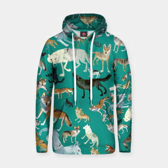 Thumbnail image of Wolves of the World (Green pattern) Sudadera con capucha, Live Heroes