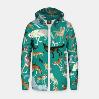 Thumbnail image of Wolves of the World (Green pattern) Sudadera con capucha y cremallera , Live Heroes