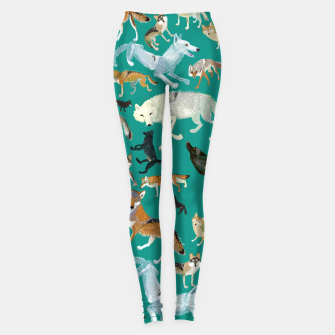 Thumbnail image of Wolves of the World (Green pattern) Leggings, Live Heroes