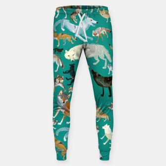 Thumbnail image of Wolves of the World (Green pattern) Pantalones de chándal , Live Heroes