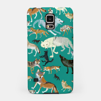 Thumbnail image of Wolves of the World (Green pattern) Carcasa por Samsung, Live Heroes