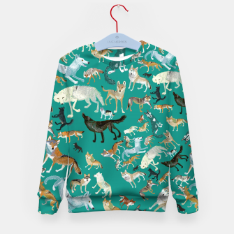 Thumbnail image of Wolves of the World (Green pattern) Sudadera para niños, Live Heroes