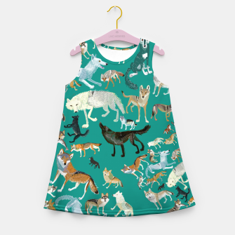 Thumbnail image of Wolves of the World (Green pattern) Vestido de verano para niñas, Live Heroes