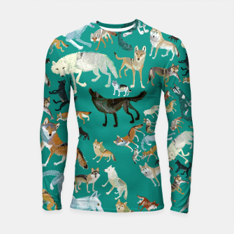 Thumbnail image of Wolves of the World (Green pattern) Longsleeve rashguard, Live Heroes