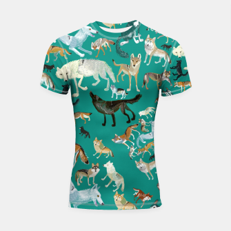Thumbnail image of Wolves of the World (Green pattern) Shortsleeve rashguard, Live Heroes