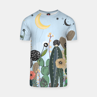 Thumbnail image of Succulents, moon and stars pattern  T-shirt, Live Heroes