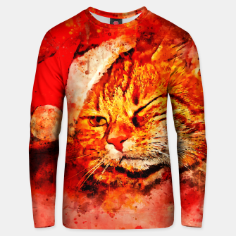 Thumbnail image of gxp cat with christmas hat splatter watercolor Unisex sweater, Live Heroes