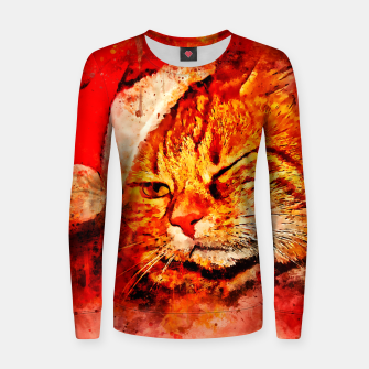 Thumbnail image of gxp cat with christmas hat splatter watercolor Women sweater, Live Heroes