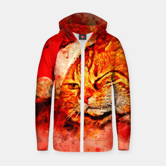 Thumbnail image of gxp cat with christmas hat splatter watercolor Zip up hoodie, Live Heroes