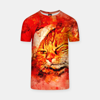 Thumbnail image of gxp cat with christmas hat splatter watercolor T-shirt, Live Heroes