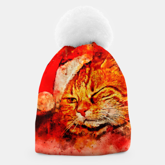 Thumbnail image of gxp cat with christmas hat splatter watercolor Beanie, Live Heroes