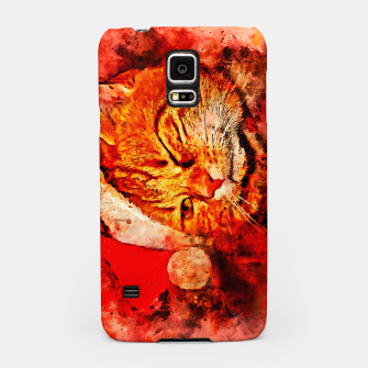 Thumbnail image of gxp cat with christmas hat splatter watercolor Samsung Case, Live Heroes
