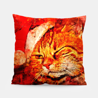 Thumbnail image of gxp cat with christmas hat splatter watercolor Pillow, Live Heroes