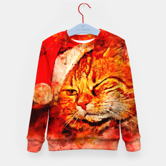 Thumbnail image of gxp cat with christmas hat splatter watercolor Kid's sweater, Live Heroes