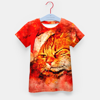 Thumbnail image of gxp cat with christmas hat splatter watercolor Kid's t-shirt, Live Heroes