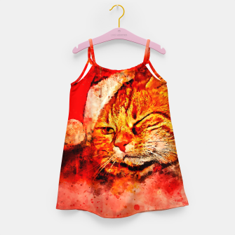 Thumbnail image of gxp cat with christmas hat splatter watercolor Girl's dress, Live Heroes