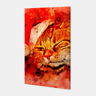 Thumbnail image of gxp cat with christmas hat splatter watercolor Canvas, Live Heroes