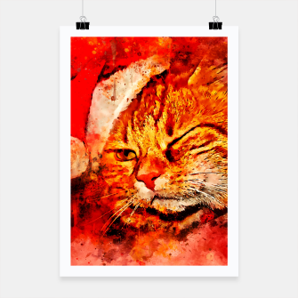Thumbnail image of gxp cat with christmas hat splatter watercolor Poster, Live Heroes