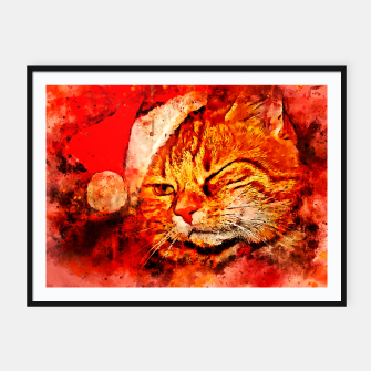 Thumbnail image of gxp cat with christmas hat splatter watercolor Framed poster, Live Heroes