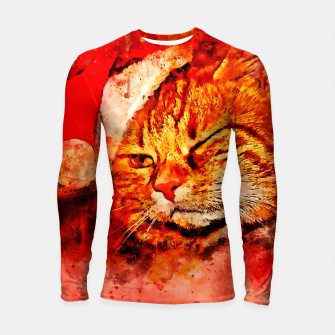 Thumbnail image of gxp cat with christmas hat splatter watercolor Longsleeve rashguard , Live Heroes