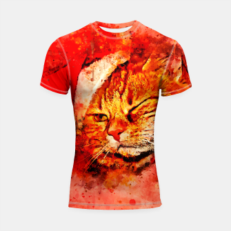 Thumbnail image of gxp cat with christmas hat splatter watercolor Shortsleeve rashguard, Live Heroes