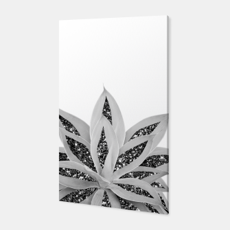 Gray Agave with Black Silver Glitter #1 #shiny #tropical #decor #art  Canvas thumbnail image