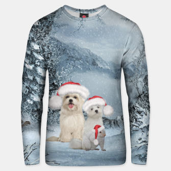 Miniature de image de Christmas cute dogs and squirrel with christmas hat Unisex sweater, Live Heroes