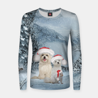 Miniature de image de Christmas cute dogs and squirrel with christmas hat Women sweater, Live Heroes