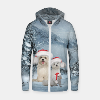 Miniature de image de Christmas cute dogs and squirrel with christmas hat Zip up hoodie, Live Heroes