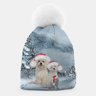 Miniaturka Christmas cute dogs and squirrel with christmas hat Beanie, Live Heroes