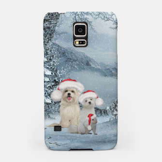 Miniaturka Christmas cute dogs and squirrel with christmas hat Samsung Case, Live Heroes