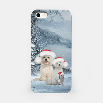 Miniaturka Christmas cute dogs and squirrel with christmas hat iPhone Case, Live Heroes