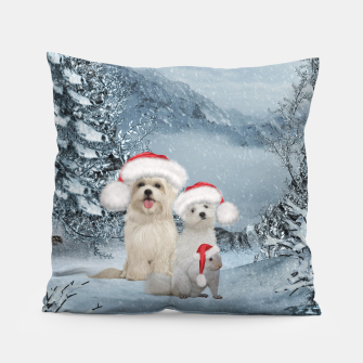 Miniaturka Christmas cute dogs and squirrel with christmas hat Pillow, Live Heroes