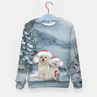 Miniaturka Christmas cute dogs and squirrel with christmas hat Kid's sweater, Live Heroes