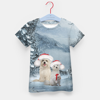 Miniaturka Christmas cute dogs and squirrel with christmas hat Kid's t-shirt, Live Heroes