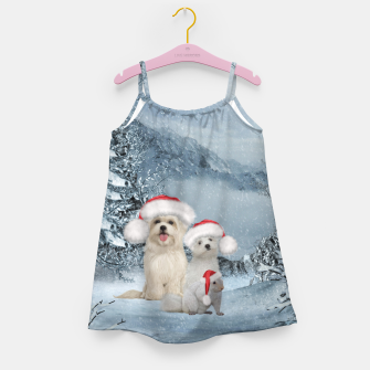 Miniaturka Christmas cute dogs and squirrel with christmas hat Girl's dress, Live Heroes