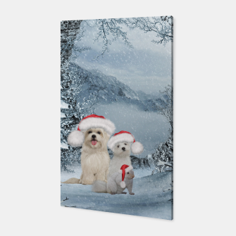 Miniaturka Christmas cute dogs and squirrel with christmas hat Canvas, Live Heroes
