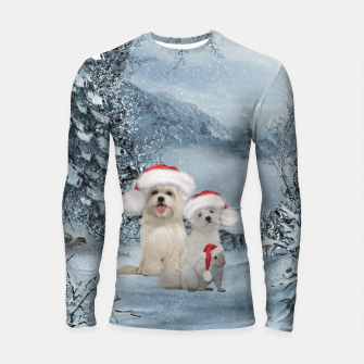 Miniaturka Christmas cute dogs and squirrel with christmas hat Longsleeve rashguard , Live Heroes