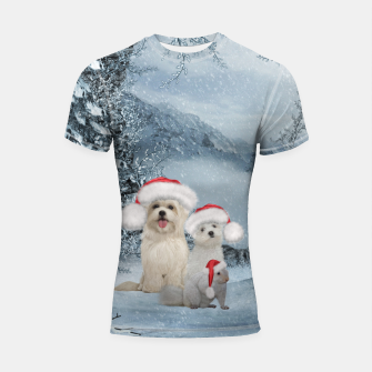 Miniaturka Christmas cute dogs and squirrel with christmas hat Shortsleeve rashguard, Live Heroes